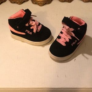 Pink black and white girls baby fila shoes #1-6